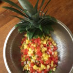 Pineapple salsa draining. Vying For Veganism.